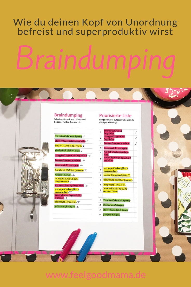 Braindumping Organisation Achtsamkeit Zeitmanagement Mama Priorisieren Feelgoodmama