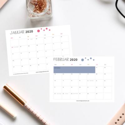 Kalender 2020 zum Ausdrucken – kostenlos!