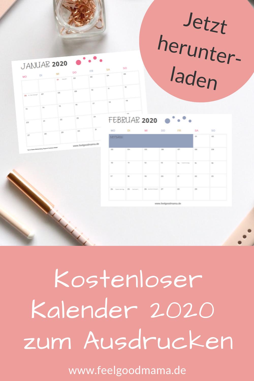 kalender 2020 zum ausdrucken kostenlos feelgoodmama. Black Bedroom Furniture Sets. Home Design Ideas