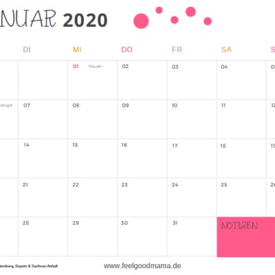 Kalender 2020 zum sofort Ausdrucken