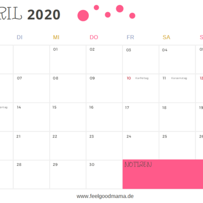 Kalender 2020 zum Download – Quartal 2