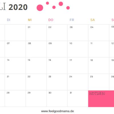 Kalender 2020 zum Ausdrucken – Quartal 3