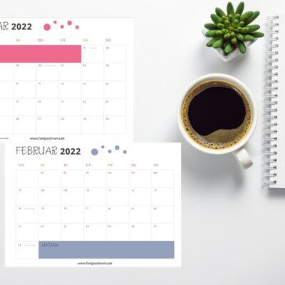 Kalender 2022 zum Ausdrucken – kostenloses PDF
